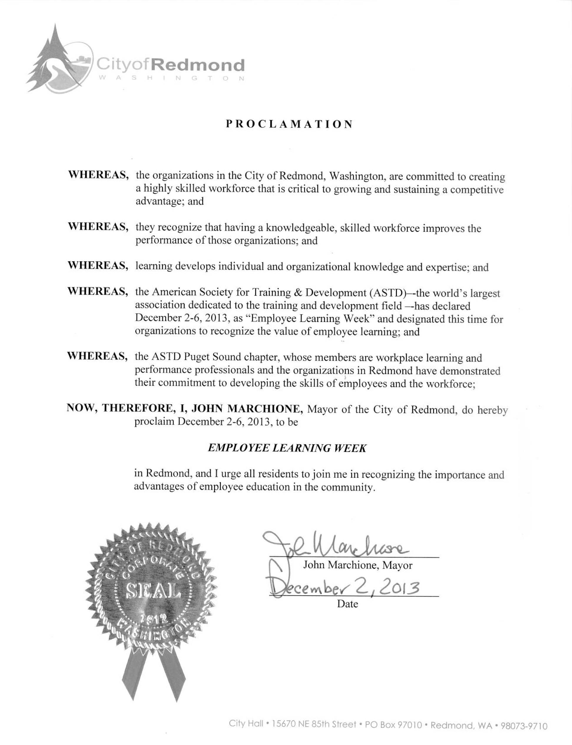 ATD Puget Sound Chapter - Proclamations